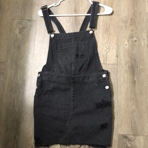 Never been worn black jean overall dress!